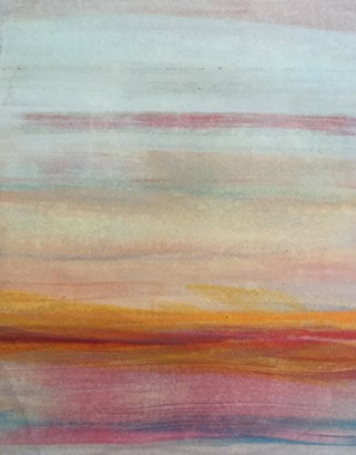 Vivid Horizons  3  Wall D Cor Art Landscape Painting Original Handmade Print Color Orange Blue Modern Artwork For The Home Or Office Contemporary Picture Gift 11 X 14 Ready To Hang Cradled Panel