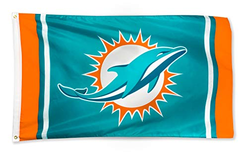 XIFAN Miami Dolphins 3x5 Foot Polyester Flag - Vivid Color and Double Stitched - Super Bowl Banner with Brass Grommets 3 X 5 FT