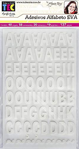 Adesivos Alfabeto Eva Branco Ref.16107-ADF1600 Toke e Crie