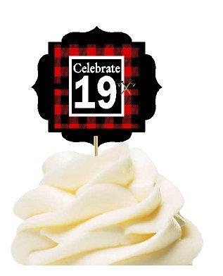 19th Birthday / Anniversary LumberJack Buffalo Plaid Novelty Cupcake Decoration Toppers / Picks -12ct