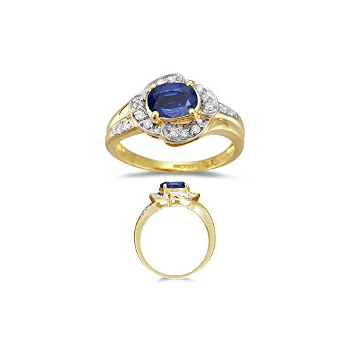 0.16 Cts Diamond & 0.91 Cts Blue Sapphire Ring in 18K Yellow Gold-4.5 ()