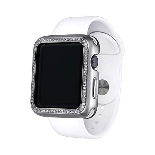 .925 Sterling Silver & Rhodium Plated Jewelry-Style Apple Watch Case with Swarovski Zirconia CZ Border - Large (Fits 42mm iWatch)