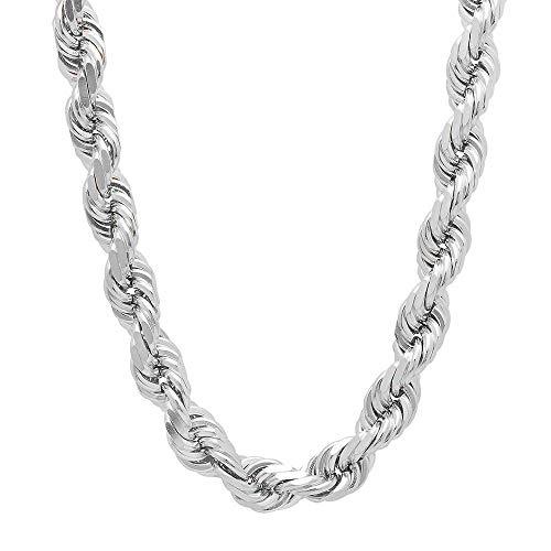 Mens Italian 925 Sterling Silver Damond Cut Rope Chain Necklace, 5MM, 6MM, 7.5MM,8.5MM- Mens Rope Chain, Sterling Silver Rope Chain Necklace For Men, Mens Rope Chain Bracelet