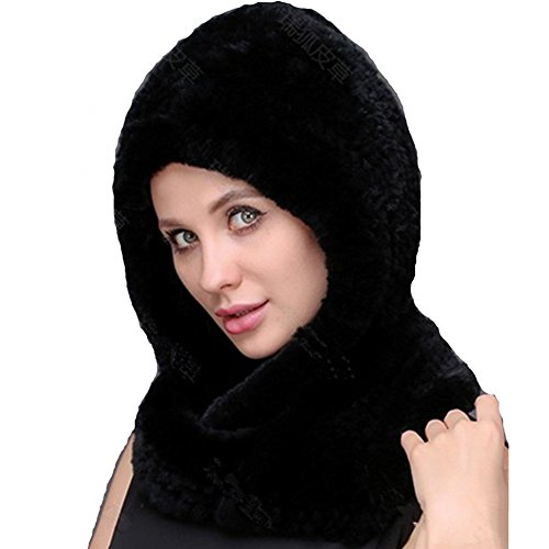 Knitted Rabbit (Valpeak Winter Womens Knitted Real Rabbit Fur Hooded scarf (Black))