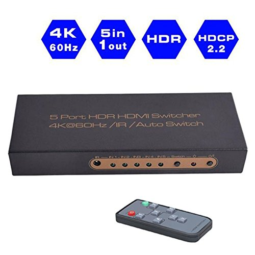 HDMI 2.0 Switcher 5x1 Guanchi Premium Quality 4K x 2K/60Hz HDMI Switcher HDR with IR Remote, Support HDR,HDMI 2.0, HDCP 2.2,Full HD/3D,1080P,DTS/Dolby