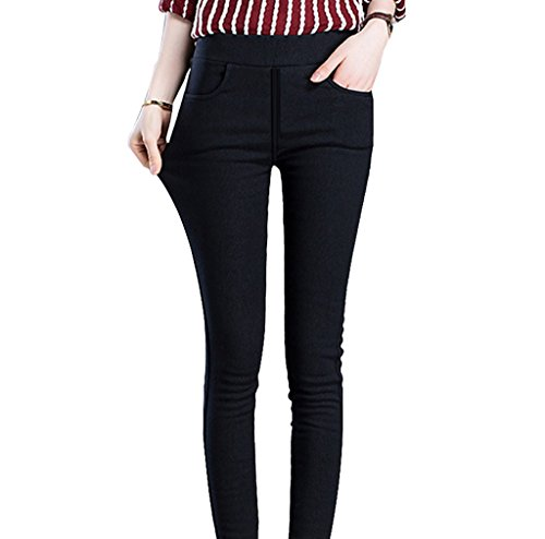 Lined Pants Trousers (Womens Fleece Lined Leggings High Waisted Black Strethy Full Length Pants M)