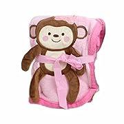 Baby Blanket w/ Monkey Design - 30x40  (Brown) (Pink)