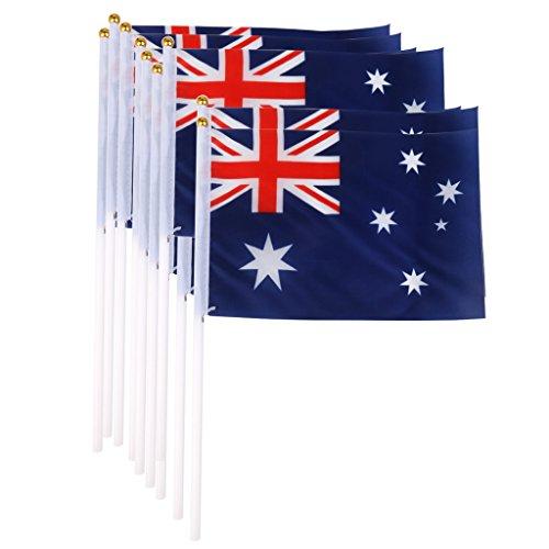 Bandera Australiana Australia Banderas Nacionales Mano Que Agita La Bandera Con Postes 12pcs