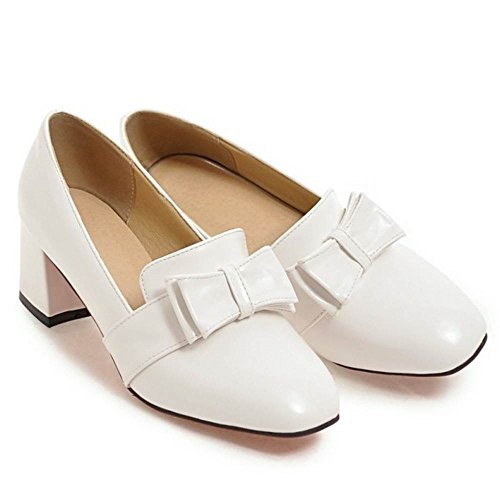 Block TAOFFEN Heel Mid Women Pumps White Fashion pzqzfwB