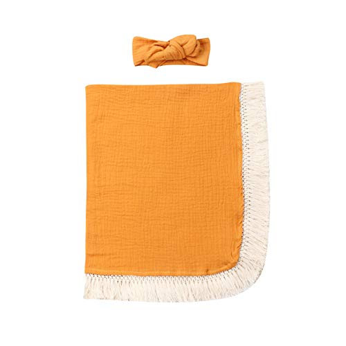 Newborn Baby Photography Shoot Props Outfits Headband Solid Tassel Blanket Boy Girls Photo Props (0-6Months,Tassel Wrap Cloth-Yellow)