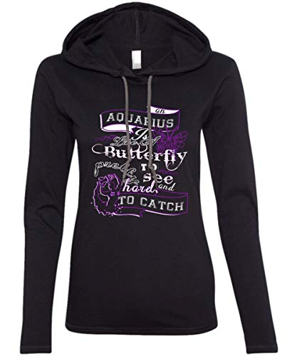 Aquarius Ladies' LS Hoodie, an Aquarius Like A Butterfly T Shirt - Anvil Hooded (XXL, Black)