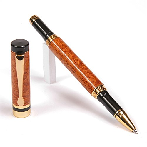 Classic Rollerball Pen - 24kt Gold - Afzilia Snakeskin by Lanier Pens