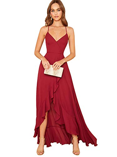 SheIn Women's V Neck Sleeveless Ruffle Slit Crisscross Backless Lace Up Maxi Party Evening Dress Medium Red