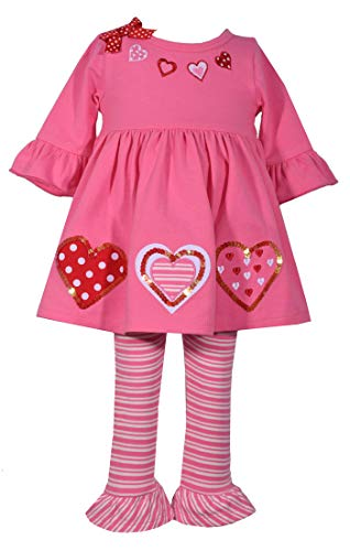 Bonnie Jean Baby Toddler and Little Girl's Valentine's Day Pink and Red Heart Tunic Shirt and Leggings Set (4T)
