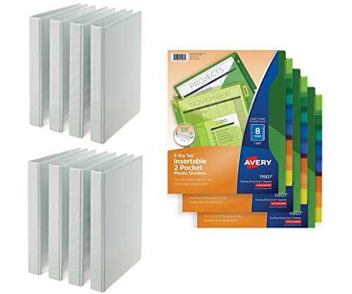 Office Products Bundle Plastic Insert. Big Tab, 8 Tab MC, Dbl Pkt, 3 Pk & 3-Ring Binder, 1 Inch - 8-Pack (White)