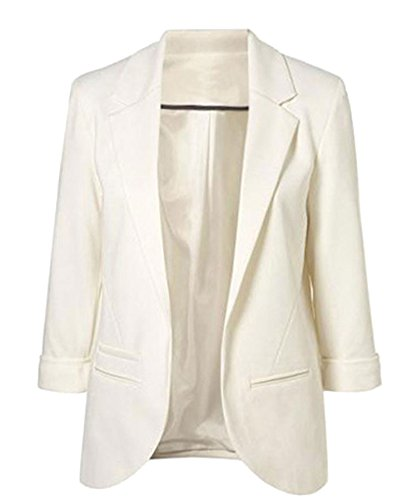 Face N Face Womens Cotton Rolled Up Sleeve No-Buckle Blazer Jacket Suits,US S/Tag M,White