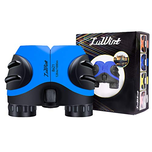 Luwint 8X 21 Binoculars for Kids Bird Watching, Watching Wildlife or Scenery, Game, Safari, Fishing, Mini Compact and Image Stabilized (Blue)