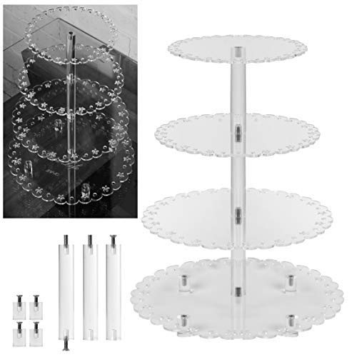 4 Tier Acrylic Round Cupcake stand Cake Dessert Pastry stand, serving tray or display with rod feet base for events, weddings, parties, cafes and bakeries 4.5'' between tiers by Good Life xox