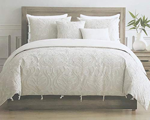 - Tahari Home Maison Bedding Queen Size Luxury 3 Piece Duvet Comforter Cover Set Textured Woven Cotton Clip Jacquard Modern Abstract Pattern Light Tan Thread on Cream/Light Tan - Zaha, Ecru