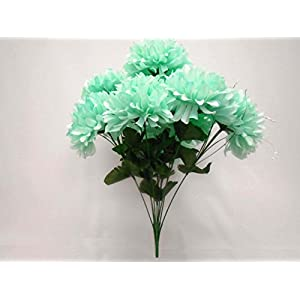 "Chrysanthemum Mum Ball Bush 10 Artificial Silk Flowers 19"" Bouquet 2302 37"