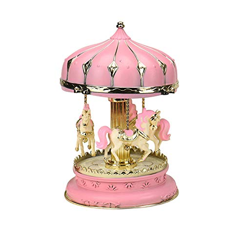 - ESH7 Lovely Music Box Light Carousel Music Boxes for Children Creative Craft Gifts Girl Birthday Gift Holiday Present Home Decoration,Color Pink