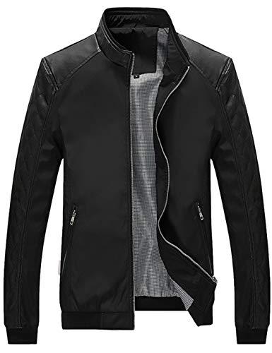 Lentta Men's Casual Slim Lightweight Softshell Zipper Windbreakers Bomber Jacket (Medium, Z-04-Black)
