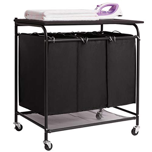 rter Cart with Foldable Ironing Board with 3 Lift-Off Bags Rolling Heavy-Duty Laundry Hamper with Removable Bags Mobile Brake Caster Black ()