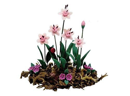 An Figurines Miniature Dollhouse Fairy Garden Pink &, Violet Flower Border