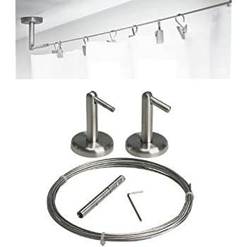 Amazon Com Curtain Wire Rod Set Stainless Steel Multi