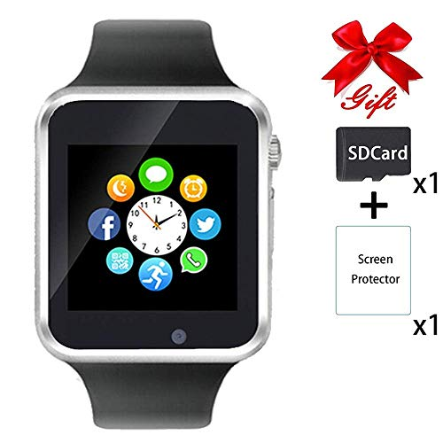 - Smart Watch,Unlocked Touchscreen Smartwatch Compatible with Bluetooth/Android/IOS (Partial Functions) Call and Text Camera Notification Music Player Wrist Watch for Women Men(Silver-black)