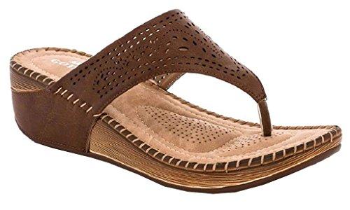 Lady Godiva Allison Women's Comfort Wedge Slide Thong Sandals by Lady Godiva
