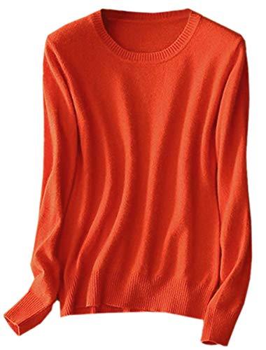Women's Casual Slim Long Sleeve Crewneck Plain Cashmere Pullover Sweater Tops, Orange, Tag L = US M (8)