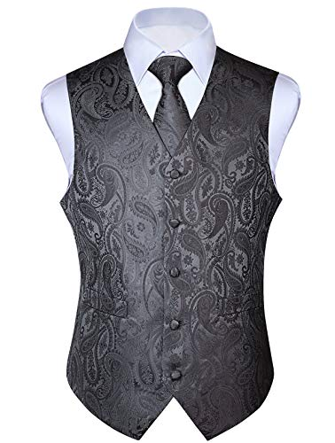 HISDERN Men's Paisley Jacquard Solid Waistcoat & Necktie and Pocket Square Vest Suit Tuxedo Set Gray