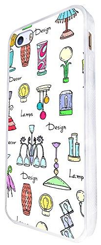 1368 - Cool Fun Trendy Cute Kawaii Retro Furniture Lamps Sketch Illustrations Design iphone SE - 2016 Coque Fashion Trend Case Coque Protection Cover plastique et métal - Blanc