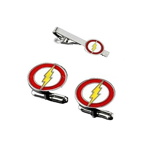 DC Comics Flash Logo Movie Mens/Boys Tie Bar/Clip and Cufflinks Gift Set with Gift Box by DC Comics