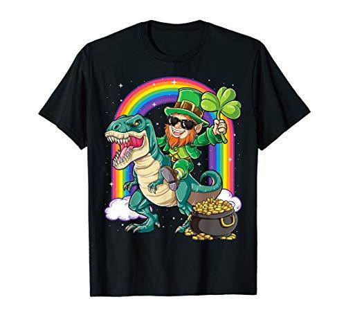 Leprechaun Dinosaur T rex T shirt St Patricks Day Boys Kids