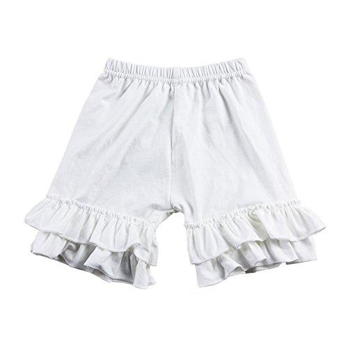 Wennikids Baby Girl Double Ruffle Cotton Girl Shorts Medium (Canada Fit Shorts)