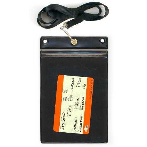 StoreSMART® - Train Ticket Holder Zip Closure with Lanyard - Clear Plastic Front & Black Plastic Back - 1-Pack - SPCR1596ZIPS-RT-1 (Train Ticket Pouch)