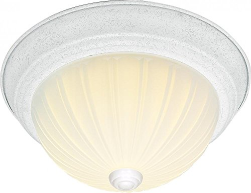 Frosted Melon Glass Light Fixture (Nuvo SF76/125 11-Inch Textured White Flush Dome with Frosted Melon Glass)