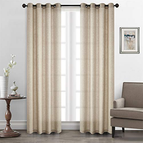 Dreamig Casa Solid Faux Linen Room Darkening Curtains Grommet Top Natural Draperies (2 Panels, 52''W x 84''L) 84' Long Curtain Drapery