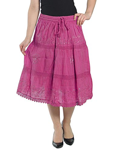 KayJayStyles Solid Color Bohemian Hippie Belly Gypsy Short Cotton Mid Length Skirt (Hot - Pink Skirt Cotton