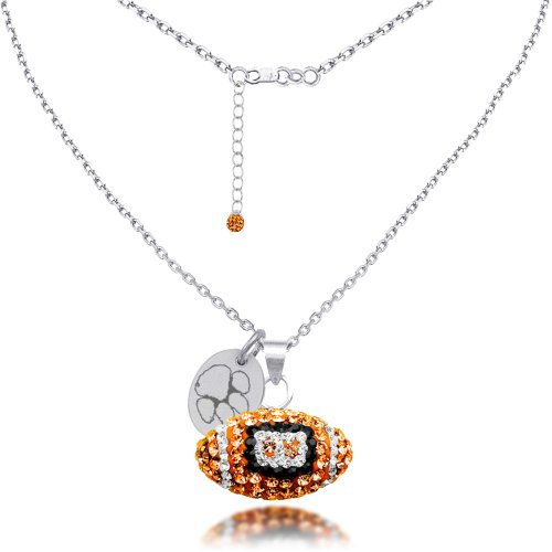 Clemson University Tigers Sterling Silver and Czech Crystal Football ()