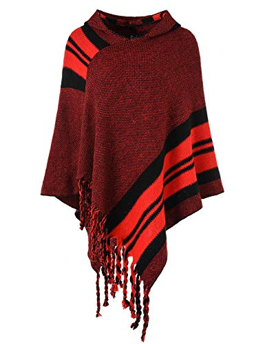 Ferand Women's Hooded Knit Striped Cape Poncho Sweater with Fringes, One Size, Red]()