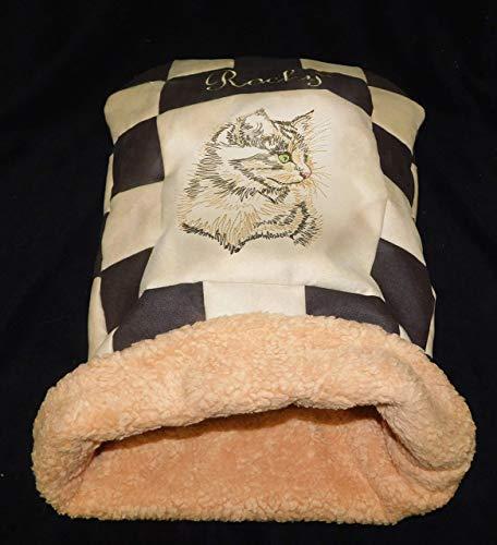 LunaChild Katzen Kuschelhöhle Schlafsack Kuschelsack Katzenbett Katzendecke Name Snuggle Bag Größe S M L oder XL in…