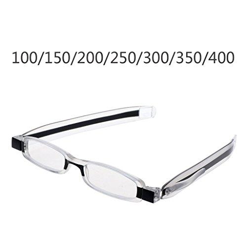 - Bduco Mini Slim 360° Rotating Foldable Reading Glasses, Spring Hinge Glasses with Pocket, Unisex Presbyopic Glasses +1.00 to +4.00 (+3.0)