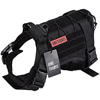 OneTigris Tactical Service Dog Vest – Water-resistant Comfortable Military Patrol K9 Dog Harness with Handle (Medium, Black)