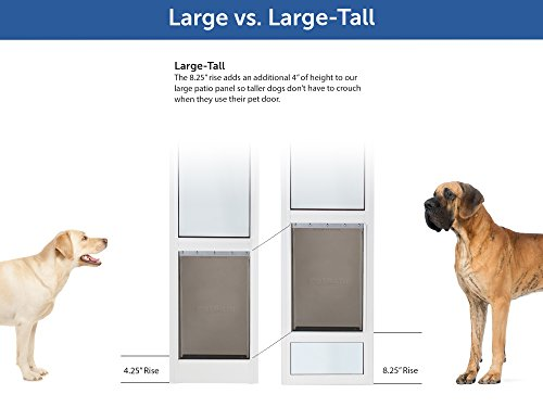 PetSafe Freedom Aluminum Patio Panel Sliding Glass Dog and Cat Door, Adjustable 91 7/16'' to 96-Inch, White, Large-Tall by PetSafe (Image #4)