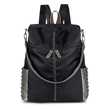 Bolso de nylon impermeable mochila de tela oxford remache Corea Edición estudiante viaje mochilas escolares, negro: Amazon.es: Equipaje