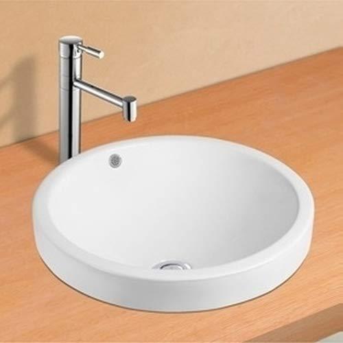 NEG Waschbecken Uno35E mit schmalem Rand und Nano-Beschichtung wei/ß Einbau-Waschschale//Waschtisch rund//teilversenkt