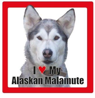 Carré I Alaskan My Race Malamute Verre Nom Dessous Photographie Love De Céramique Avec Chien Dog En 6Y5qwYxrT